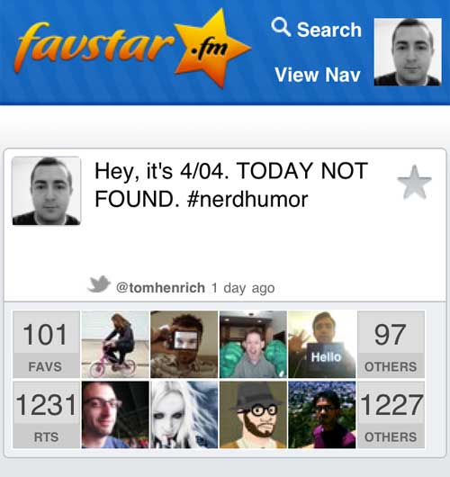 'Today is 4/04, TODAY NOT FOUND.' Over 1200 favorites so far.
