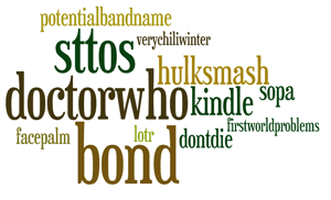 cloud of common hashtags: Doctor Who, Bond, Hulk Smash, and Star Trek top the list